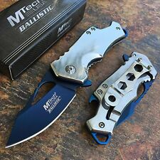 MTech Ballistic Silver w/ Blue Blade Small Pocket Camping Knife w/ Bottle Opener