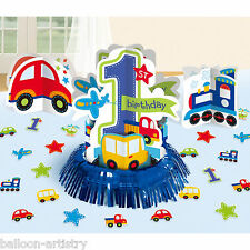 23 Piece All Aboard Blue Boy's Happy 1st Birthday Party Table Decorating Kit