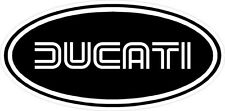 """#k107(2) 3"""" Ducati Oval Racing Classic Vintage Decal Sticker LAMINATED Black"""