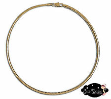 "16"" Gold Tone 4mm Wide Omega Choker Chain Necklace (CO2)"