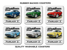 DATSUN  260Z  FAIRLADY  Z CAR      SET OF 6   QUALITY RUBBER DRINK  COASTERS