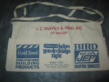 Vintage JC Snavely & Sons Gold Bond Nail Stanly Bird Cloth Apron