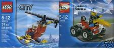2x Lego City Feuerwehr Chief mit Auto + Pilot mit Heli //  30010 + 30019