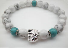 White Howlite and Turquoise with Silver Elephant Bead Bracelet Boho Indian