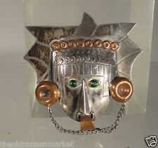Antique Sterling Silver and Copper Pin Brooch Carmen Beckmann Taxco Mexico
