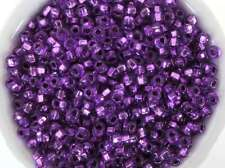Czech Glass Seed Bead Purple With Silver Lining Amethyst  Size 6/0