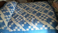 """Antique QUILT TOP Pieced, Shades of Blue & White, 74""""x92"""""""