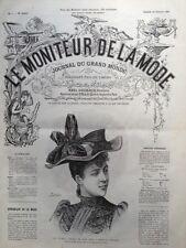 LE MONITEUR DE LA MODE 1891 N 7 CHAPEAU DE JEUNE FILLE. DESSIN DE J. ROCAULT
