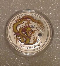 "Australian Lunar II ""Year of the Dragon"" (Yellow) 2012 1 Oz Silver coin"