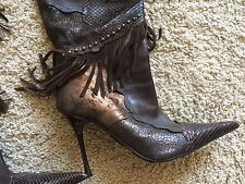 Aldo Over The Knee Tall Snake Leather Boots Stileto Limited Edition Fringe Metal