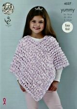 KNITTING PATTERN Girls Easy Knit Lacy Poncho Yummy Chunky 4537