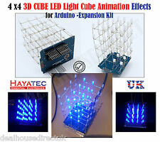 Blue 4X4X4 NEW 3D Light Cube Kit UNO Shield LED DIY Project for Arduino UK FREE