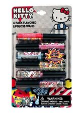 HELLO KITTY By SANRIO 6pc Lipgloss Wand Set FLAVORED Strawberry+Bubble Gum+MORE