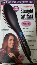 Straight Artifact Ceramic Brush Hair Straightener, Black/Pink
