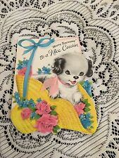 Vintage Greeting Card Birthday Cousin Dog In Hat Flowers