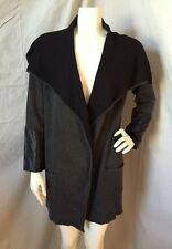 Ava Dark Gray/Black Oversized Draped Cardigan Coat w/ Leather Sleeves S NWT