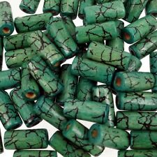 Jade Green Crackle 50 pcs Wooden beads 8x15mm  Tube Shaped beads Mix W187