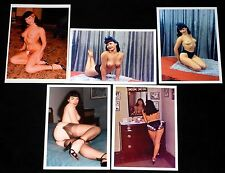 BETTY BETTIE PAGE 5pc Topless Nude Color 5x7 Photo Lot Pin Up