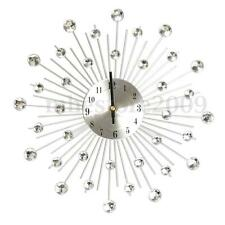 32.5cm Novelty Diamond Crystal Jeweled Beaded Sunburst Wall Clock Silver Wire