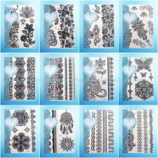 12 sheets/lot Henna lace temp tattoo black cover up tattoos on wrist