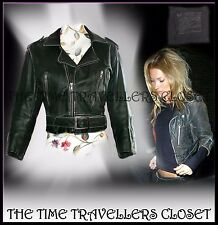 TOPSHOP KATE MOSS RARE VTG GREEN DISTRESSED LEATHER CROP BIKER JACKET UK 8 10 12