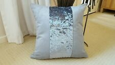 """WHY NEXT ? 4 X 18"""" GREY FAUX SUEDE /SILVER MARBLE VELOUR STRIPE  CUSHION COVERS"""