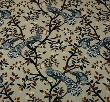 """ROBERT ALLEN PLUME REDUX MIDNIGHT Blue Peacock Floral Fabric BY THE YARD 55""""W"""