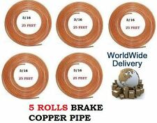 5 ROLLS 125FEET COPPER PIPE 3/16 BRAKE PIPE BRAKE FLUID LINE PIPE 25 FEET LONG