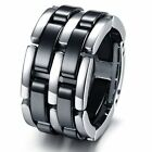 Tungsten Black & Silver Colour Mens Wedding Ring Size 5 - 11