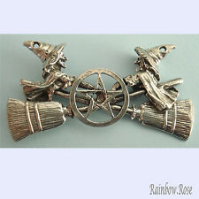 PEWTER CHARM #410 WITCHES CROSSED BROOMS PENTAGRAM 55mm(w) x 28mm(h) WITCH