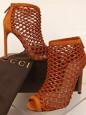 NIB GUCCI ORANGE LEATHER WOVEN OPEN TOE CAGE ANKLE BOOTS 39 9 #353730 $ 995
