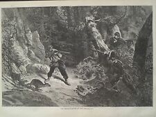 French Deer Poacher At Bay Emperor's Guards 1868 Harpers Weekly Print