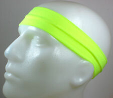 "NEW! 2"" Super Soft Neon Yellow Hair Band Head Sports Sweat Headband Stretchy"