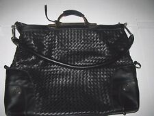 Joy Mangano JM black Woven Convertible Shoulder Purse Extra Large Tote A1