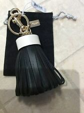 NWT Coach Black Leather Tassel Bag Charm/Keychain/Key Fob/Key ring # F58505