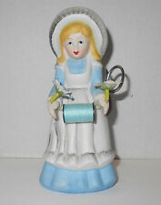 Vtg Country Girl Pin Cushion Sewing Scissor Caddy Porcelain Figurine Blue