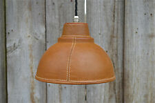 Stylish real brown leather hand stitched hide pendant light nickel bulb holder