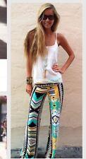 Boho Hippie Bohemian Palazzo Pants Tribal Print Bell Bottoms Wide Leg Aztec Yoga