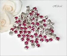 40 Fuchsia Pink ss20 Rose Montees 4 hole Sew On Glass Crystals prong set 20ss