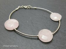 Baby Pink Rose Quartz Faceted Coin Beads & Sterling Silver Curves Bracelet Gift