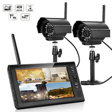 "Wireless CH0DVR 2 Cameras 7"" LCD Monitor CCTV Video Home Security Camera2System"
