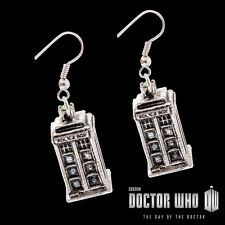 Doctor Who TARDIS Police Box Metal French Wire EARRINGS Silver