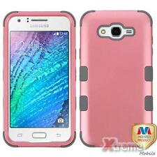 XM-For SAMSUNG GALAXY J7 (2015) Pearl Pink/Gray TUFF Hybrid Case Cover