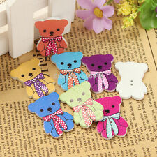 20 Wooden Teddy Bear Sewing Buttons Mixed colours 3.2cm x 2.4cm