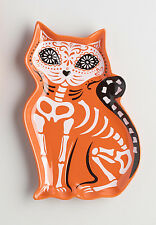 "Halloween Los Muertos Cat Skeleton Ceramic Plate Orange, White, & Black, 6"" x 9"""