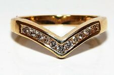 A FINE 9CT 9KT YELLOW GOLD 0.2CT DIAMOND WISHBONE ETERNITY WEDDING RING  K 1/2