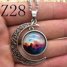 NEW Colorful Galaxy Glass Hollow Moon Shape Pendant Silver Tone Necklace Z28