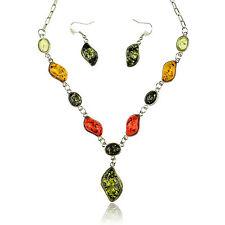 faux amber Teardrop Collar Bib Necklace Earrings Pendant Jewelry Stunning Set