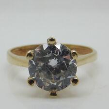 Impresionante 14ct oro amarillo de Set piedra anillo de compromiso solitario ~ Tamaño L 1/2