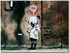 "BANKSY STREET ART CANVAS PRINT Think Tank Girl heart 24""X 16"" stencil poster"